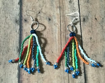 Gorgeous beaded tassel dangle earrings