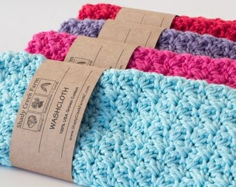 Mothers Day Gift WASHCLOTH SET OF 4 crochet washcloths cotton wash cloth gifts for women girlfriend gift for mom gift for wife gift
