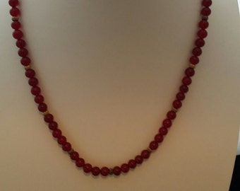 "23 "" Red Chec Glass Vintage Necklace"