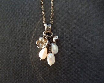 Sterling Silver Tassel Necklace with Flowers and Pearl Charms, Pearl Tassel Necklace, Assemblage, Cluster Necklace, Autumn, Layering Jewelry