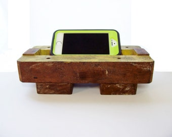 Antique Wooden Foundry Mold Cell Phone Stand Chill Station