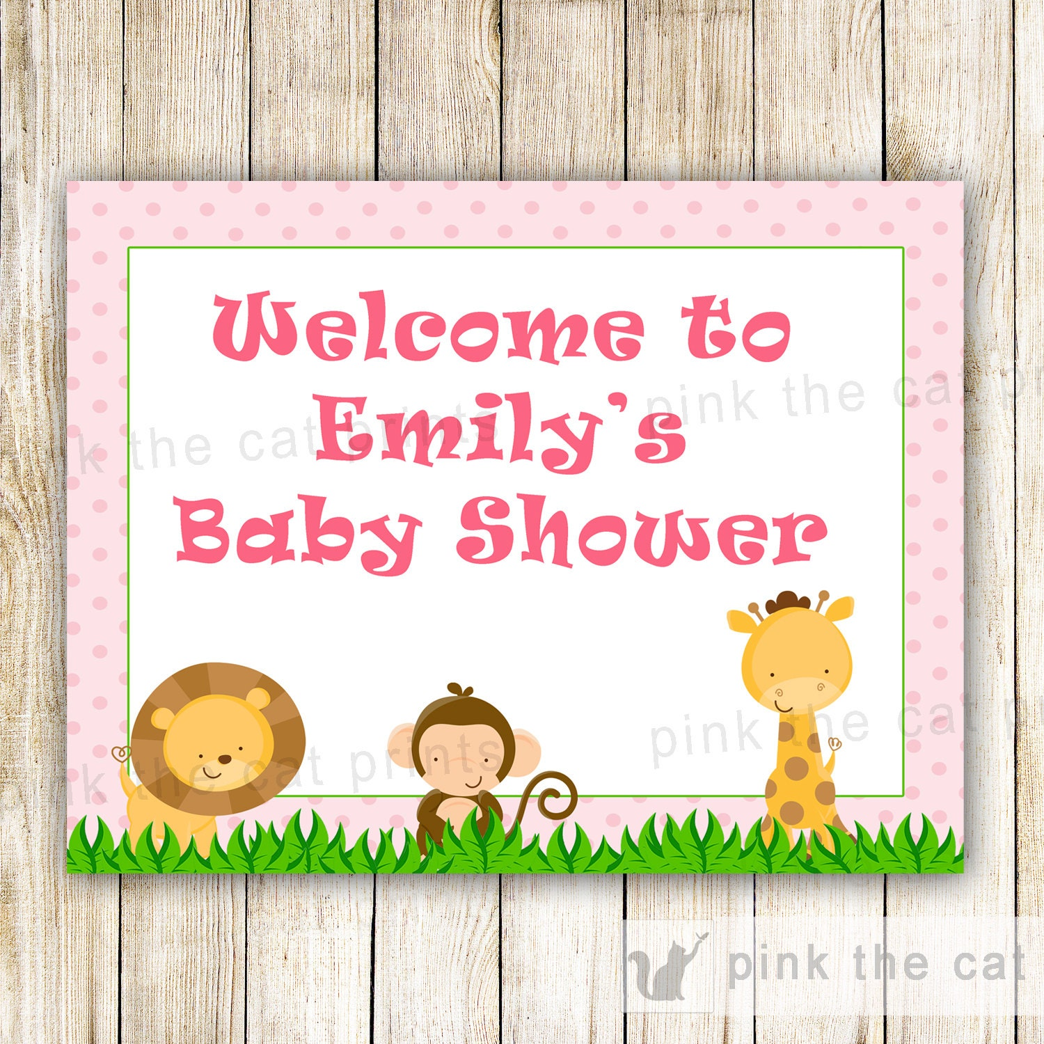 jungle baby shower welcome sign pink safari animals monkey. Black Bedroom Furniture Sets. Home Design Ideas