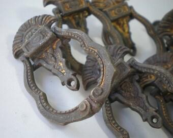 Vintage Ornate Brass Drawer Pulls Set of 6