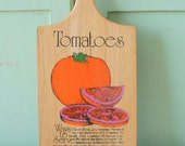 1970s Awesome Vintage TOMATO Kitchen Decor and Cutting Board....rainbow. new old stock. never used vintage. kitsch. colorful kitchen. gift
