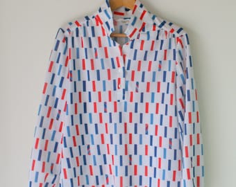 Vintage GROOVY Top...size medium womens...retro. funky. twiggy. disco. geometrical. shirt. top. blouse. 1980s 1990s clothing. red white blue