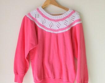 Vintage BUBBLEGUM Pink Boho Slouchy Crop Sweater..size small to medium..folk. free size. hippie. urban. boho. pink. spring. knit. retro. mod