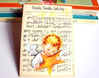 Small Ready to Frame Print * Twinkle Twinkle Little Star Angel Mother Goose Nursery Rhyme Sheet Music Baby Toddler Kids Room Home Decor
