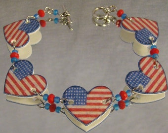 American Flag Clasp Bracelet - I love the USA Jewelry