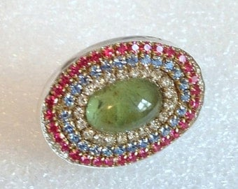 LOVE SALE Green Prehnite Cab and multi crystal sterling silver ring