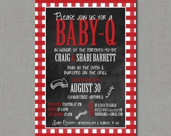 Baby-Q - Couples Barbeque Baby Shower Invitation