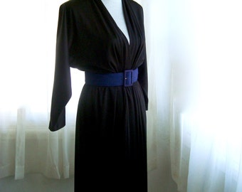 1980's LBD, Black Cocktail Dress With Deep Vee Neckline and Dolman Sleeves, Size Small