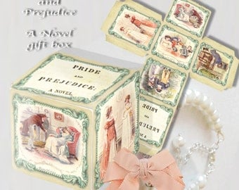 Pride and Prejudice printable gift box great wedding box favor table favor decor a novel gift box