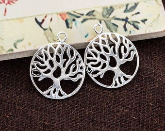 2 of 925 Sterling Silver Tree of Life Pendants 18 mm. Polish Finished. :th2518