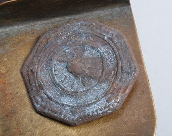 Antique brass plate, embellishment, part, primitive finding.