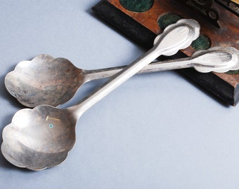 Set of 2 vintage large, big serving spoons, stainless steel 1960-1980s
