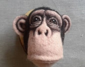 ON SALE needle felted chimpanzee head - READY To Ship