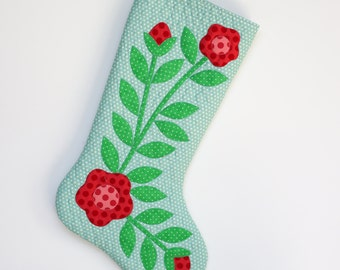 Christmas Stocking - Appliqued Quilted Christmas Stocking - Aqua and White Dot with Floral applique - Personalized Christmas Stocking