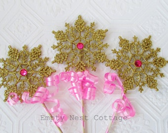 Gold and Pink Snowflake Wands, Snowflake Themed Party, Twinkle Twinkle, Table Decor, Centerpiece Display, Winter Theme Party