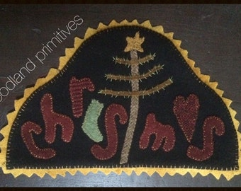 wool hand stitched applique christmas mat