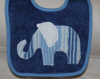 Elephant Baby Boy Baby Elephant Boy Bib with a Blue and White Stripe Terry Elephant on a Terry Blue Bib with a Coordinating Blue Trim