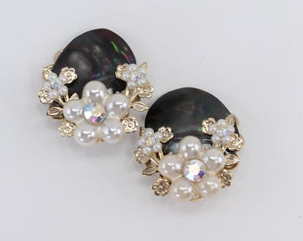 Vintage Miriam Haskell STYLE Faux Pearl Aurora Borealis Rhinestone Gold Tone Flower Black Mother of Pearl MOP Shell Cluster Clip On Earrings