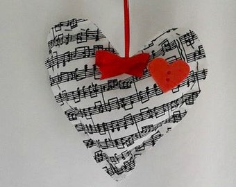 Handmade Music Note Hearts with Red Heart
