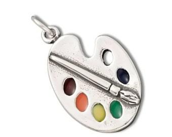 Art Paint Palette Charm 925 Sterling Silver Pendant Multicolor