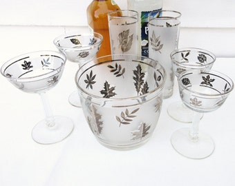 Mid Century Barware Set, Frosted Libbey Glass, Ice Bucket, Bar Glasses, Silver Leaf, Set of 7