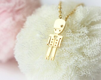 Toy Soldier Necklace / choose your color- gold, silver