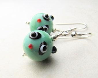 Panda Earrings, Pandabear Earrings, Kawaii Earrings, Bear Earrings, Teddybear, Teddy Bear, Lampwork