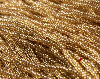Vintage Czech Glass Seed Bead Hank - Warm Gold