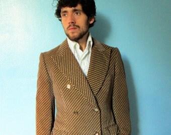70s Men's Mod Print  Velvet Blazer Jacket 40/42