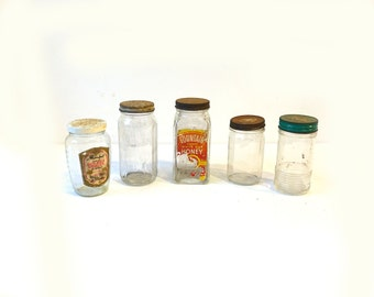 Vintage collectable mid century glass jam jars, cottage kitchen rustic jars, Australian honey jars, 1950s kitchen