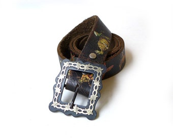 Vintage Cowboy Decor Texas leather picture cowboy belt with silver and black filigree buckle, western belt
