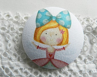 Fabric button, princess,  0.78 in / 20 mm