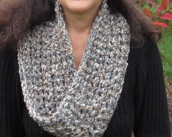 CROCHET PATTERN: Infinity Scarf, Grey Multicolor, Infinity Scarf Pattern, Scarf Crochet Pattern