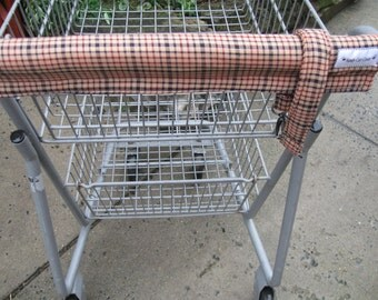 Shopping Cart Cover, Cart Handle Cover,W/Purse Strap, Shopping Cart Covers, Primitive Tan Plaid Print Cart Cover, Shopping, Handy Cart Cover