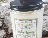 Green Tea & Lemongrass - 8 oz., Soy Candle, Glass Candle, candle wick