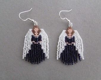 Beaded Angel Earrings in Deep Purple