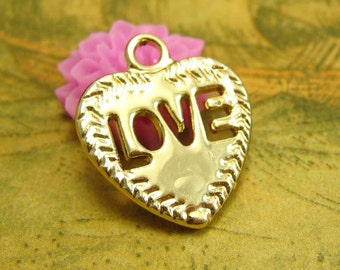 10 pcs Gold Love Heart Charms 20x18mm CH2414