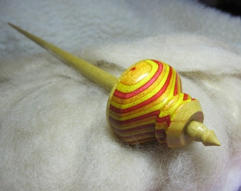 Tibetan Support Spindle in Tequila Sunrise SpectraPly, Osage Orange & Yellowheart