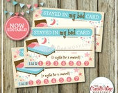 Stayed In My Bed Punch Cards | Editable Punch Cards | Pink Theme | Children's Cards | Punch Cards | Bedtime Punch Cards | Instant Download