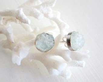 Raw Aquamarine Stud Earrings - Gemstone Cluster- Sterling Silver