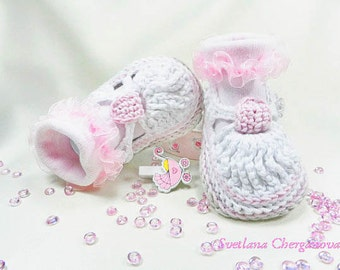 Crochet baby sandals, crochet baby shoes, crochet baby, white baby shoes, Newborn sandals, baby shower gift, READY TO SHIP