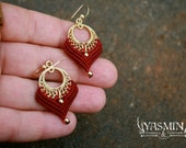 Red Lotus earrings/ dangle earrings/ red and gold