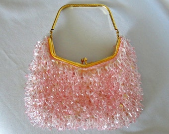 Evening Clutch Pink Beads Over Pink Silk With Gold Tone Closure