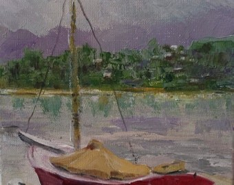 Boat painting - original art sailboat - oil painting seascape - small nautical - fine art home decor - wall art sea - beach cabin art