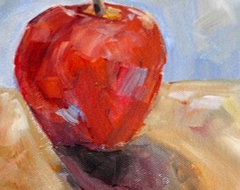 Apple painting, small fruit artwork, original acrylic still life, fine art home decor, wall art kichen, original painting