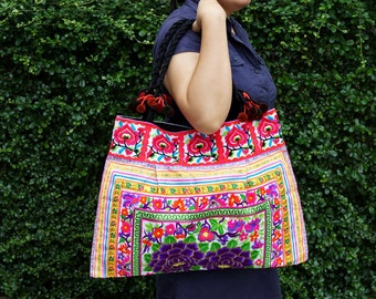 Embroidered Bags Oversized Hilltribe Handbags Thai Hmong bag Boho shoulder bag Thai ethnic handbags with Pom Pom