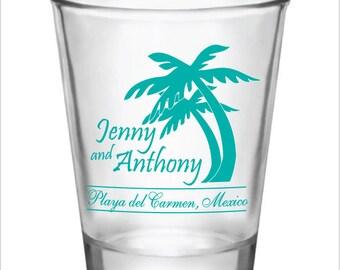 Wedding Favors Beach Destination Wedding Shot Glasses 1.5oz Glass Shot Glasses Custom Personalized Palm Trees Wedding Favor